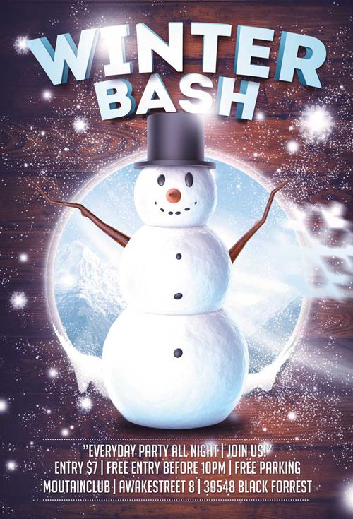 winter snowman bash free flyer template