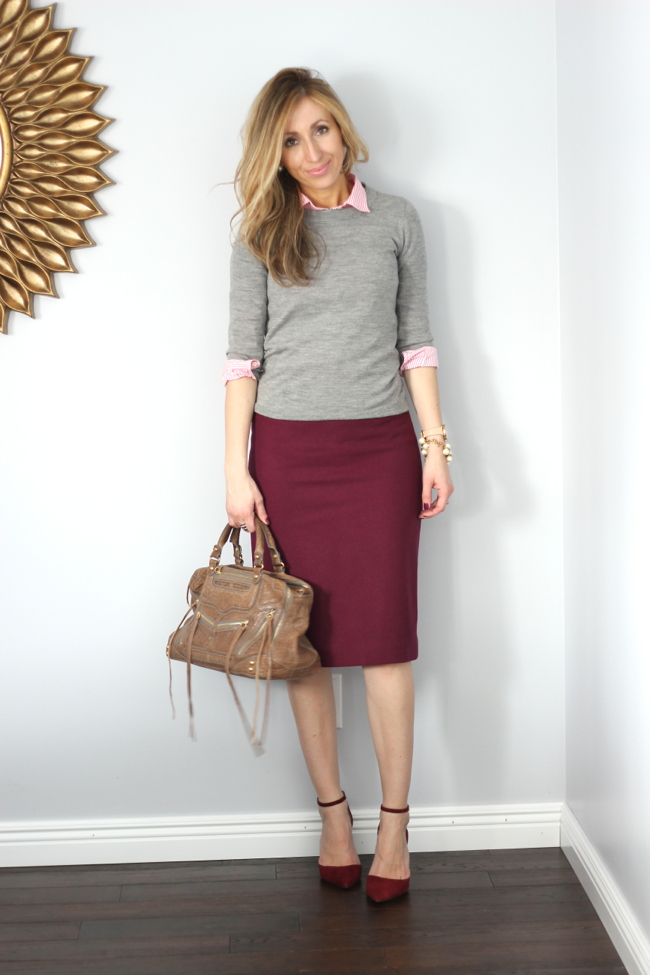 Love this tan pencil skirt with black, statement necklace--classy ...