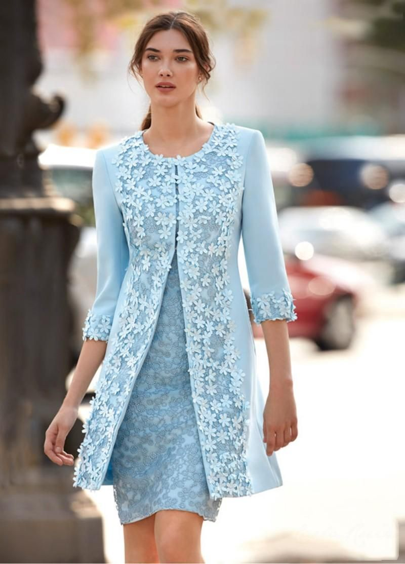 Two Pieces Light Blue Mother Of Bride Dresses 3D Applique Jewel 3/4 Sleeve Knee Length Mother Dress Capped Elegant Mother Of The Bride Dresses Gold Mother Of The Bride Dresses From Newdeve, $104.57| DHgate.Com