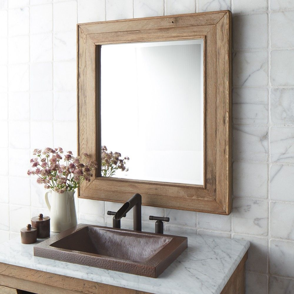 Photo Gallery On Website Rectangular Bathroom Mirror With Wooden Shelf