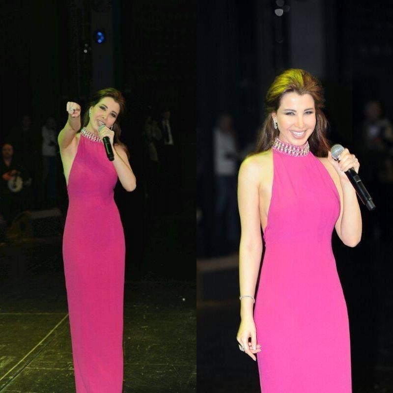 Charming Backless Nancy Ajram Prom Dresses Halter Neck Beaded Collar ...