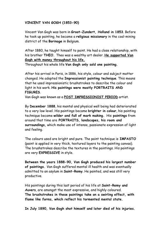 Best Uk Essay Writing Services Vincent Van Gogh  Essay Heilbrunn Timeline Of Art Essay On Favourite Movie also Santa Clara University Essay Prompt Van Gogh Information Sheet  Artist Info  Pinterest  Van Gogh  Assimilation Essay