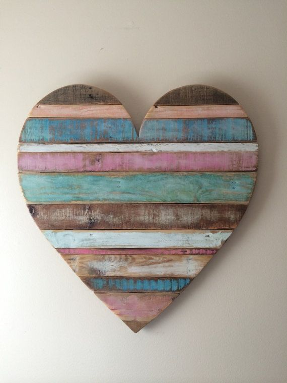 Rustic Striped Wood Heart Pastel Colors Reclaimed Wood Pallet Wood Home Decor Wall Decor Baby Room Decor Wood Pallet Wall Wood Hearts Wood Pallets