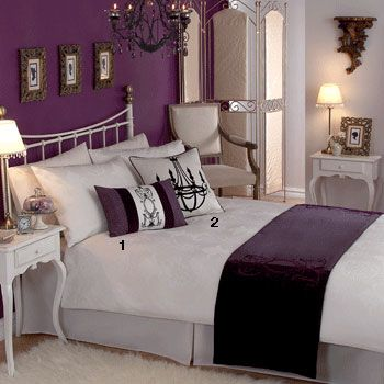 Deep Purple, White Bedding, Gold Accents, + Chandelier Will Be My Next  Bedroom
