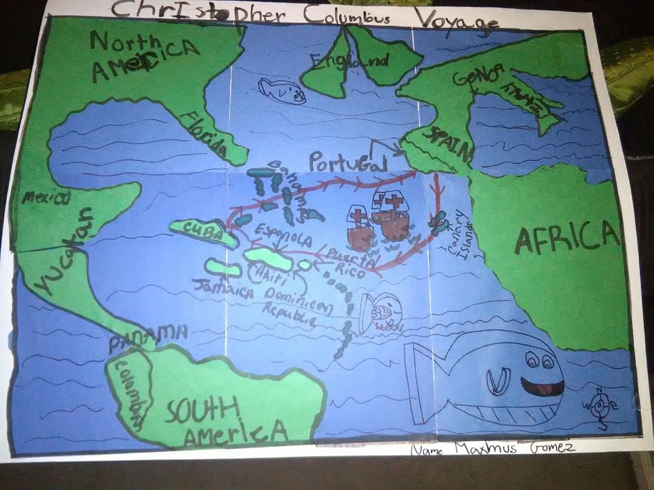 Christopher Columbus Route To America 4th Grade School