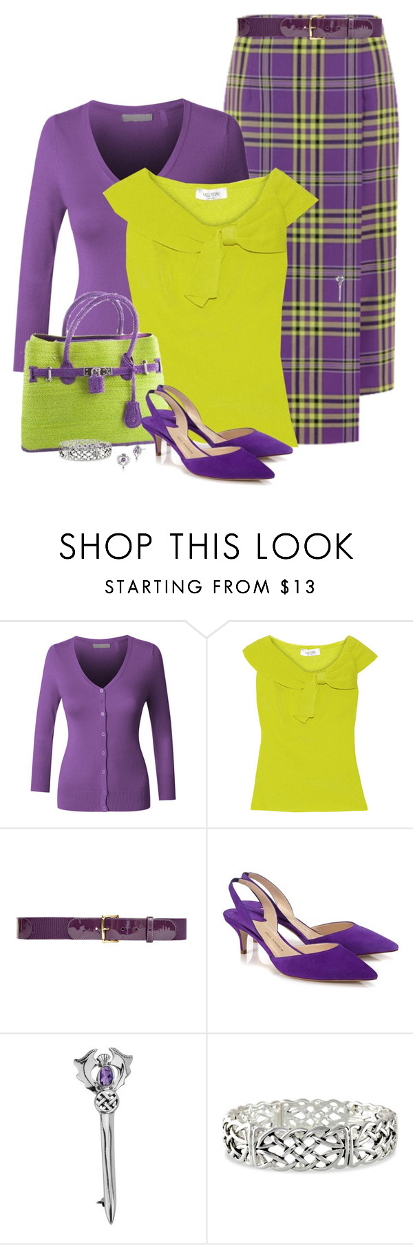 """Purple Tartan Kilt"" by dkelley-0711 ❤ liked on Polyvore featuring LE3NO, Valentino, Nina Ricci, Paul Andrew, valentino, NinaRicci and GirlWithPearl"