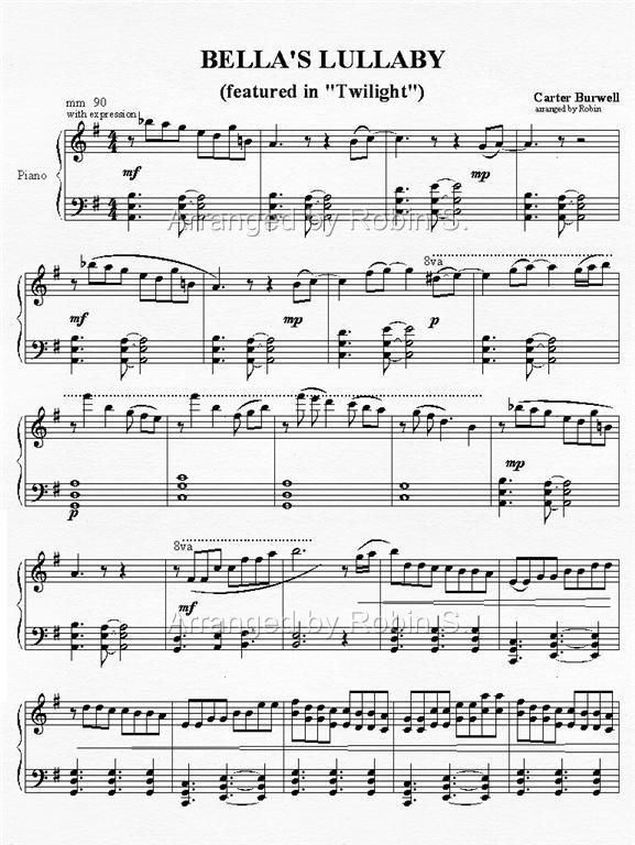 BellaS Lullaby  Music    Pianos Sheet Music And
