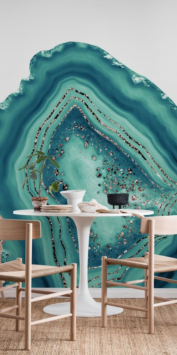 Best Teal Agate Rose Gold Glitter 2 Wall Mural In 2020 Wall 400 x 300