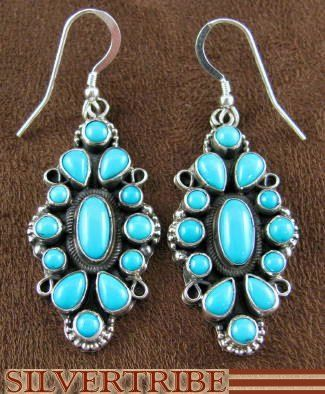 Navajo Sleeping Beauty Turquoise Hook Earrings from SilverTribe.com