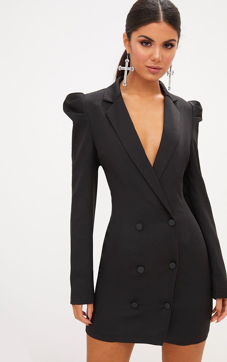 b4b3ec6631aa Black Puff Sleeve Button Up Blazer Dress in 2019 | Fall 2019 ...
