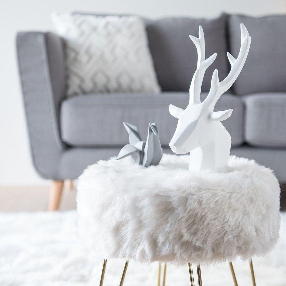 tabouret vintage en fausse fourrure blanche en 2018 ma chambre cosy parfaite pinterest. Black Bedroom Furniture Sets. Home Design Ideas