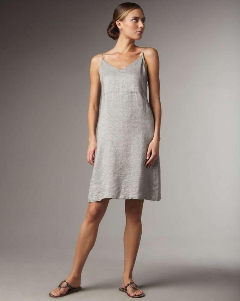 f07b4d787f2 Eileen Fisher Silver Metallic Linen Shift Dress  EileenFisher  Linen  Dress