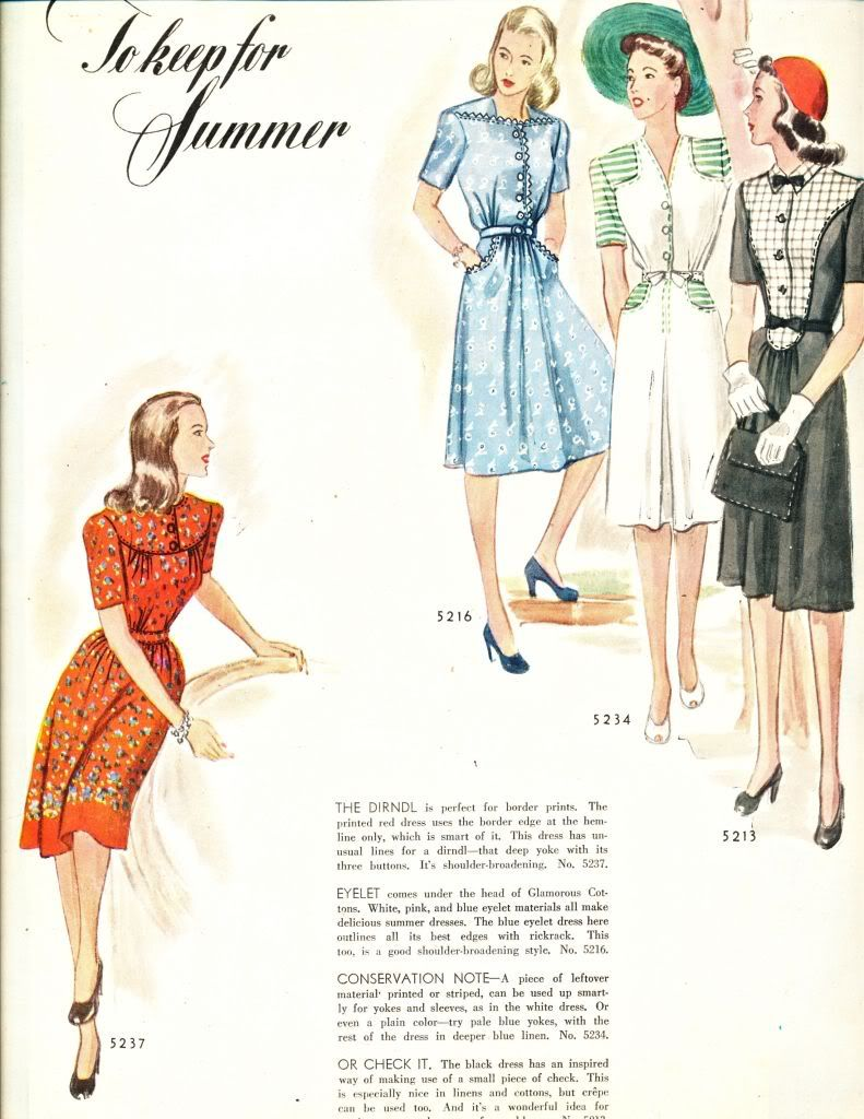 1943 Spring and Summer Wardrobe - McCalls Magazine | Fashion | Pinterest