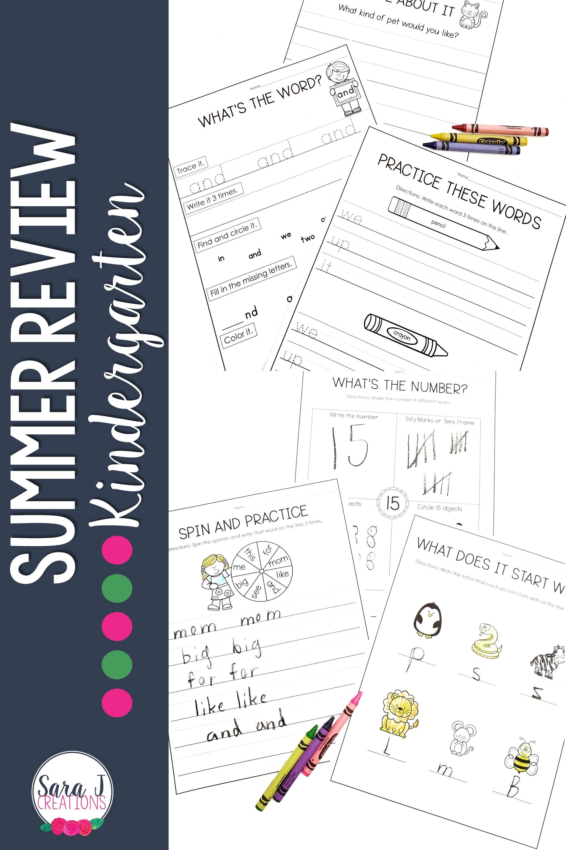 Kindergarten Summer Review Packet In