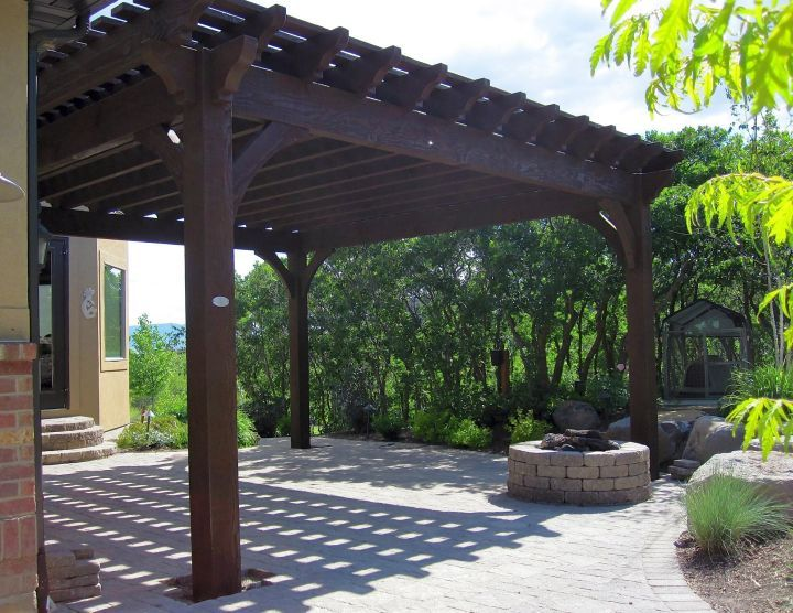 Modern Pergola Kit In Dark Wood
