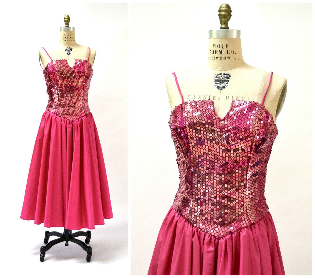 Vintage s prom dress in pink small sequin dress s party dress