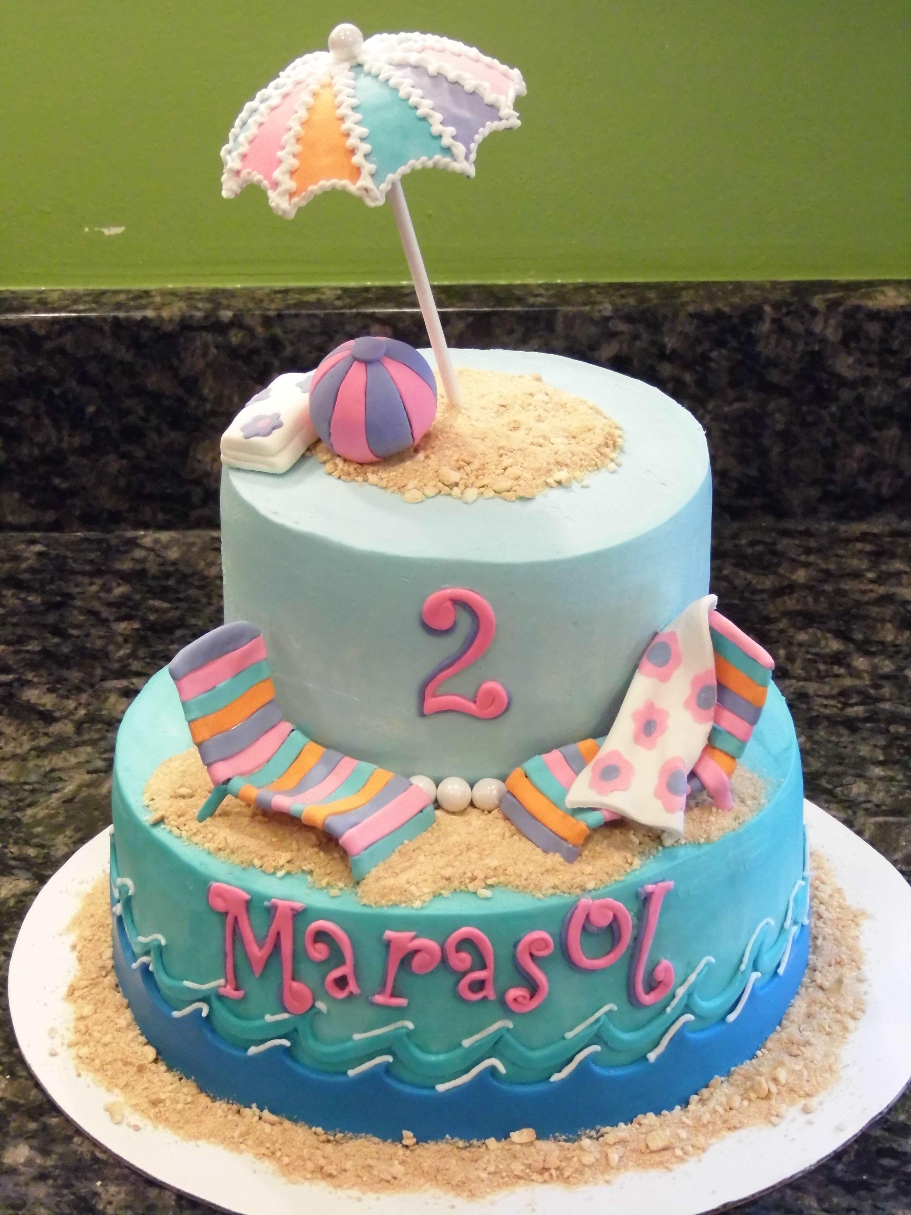 Beach Birthday Cake With Fondant Umbrella And Chairs Ball