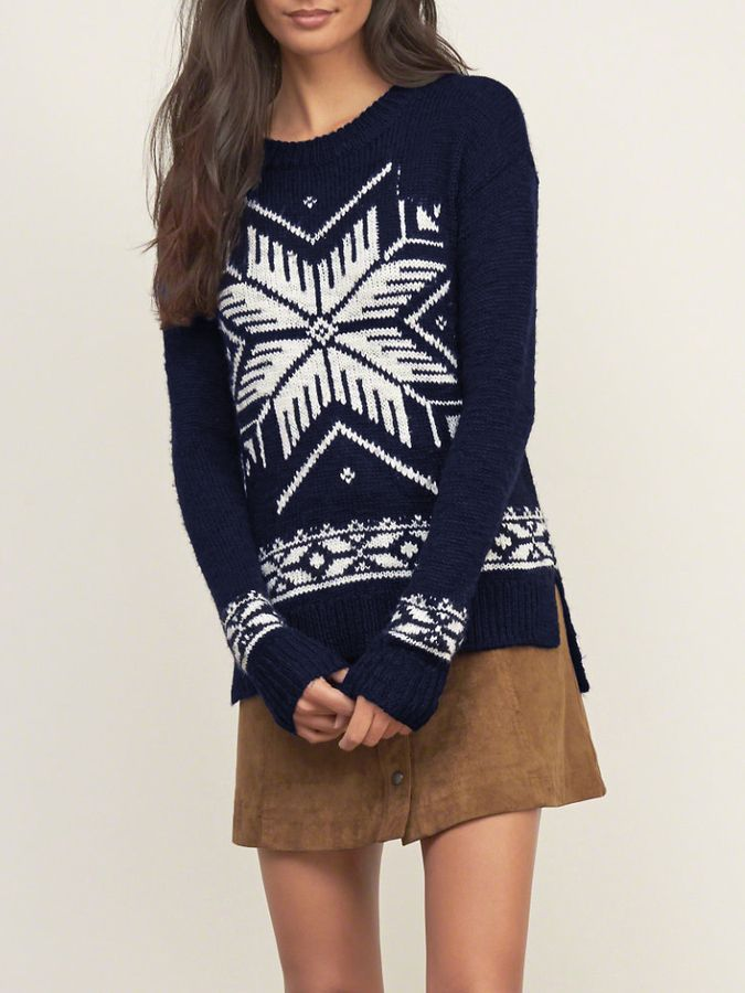 Romwe Navy Long Sleeve Snowflake Print High Low Sweater - Find it ...