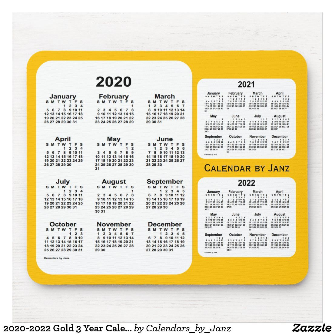 2020 2022 Gold 3 Year Calendar By Janz Mouse Pad Zazzle Com In 2020 Custom Calendar Calendar Design Calendar