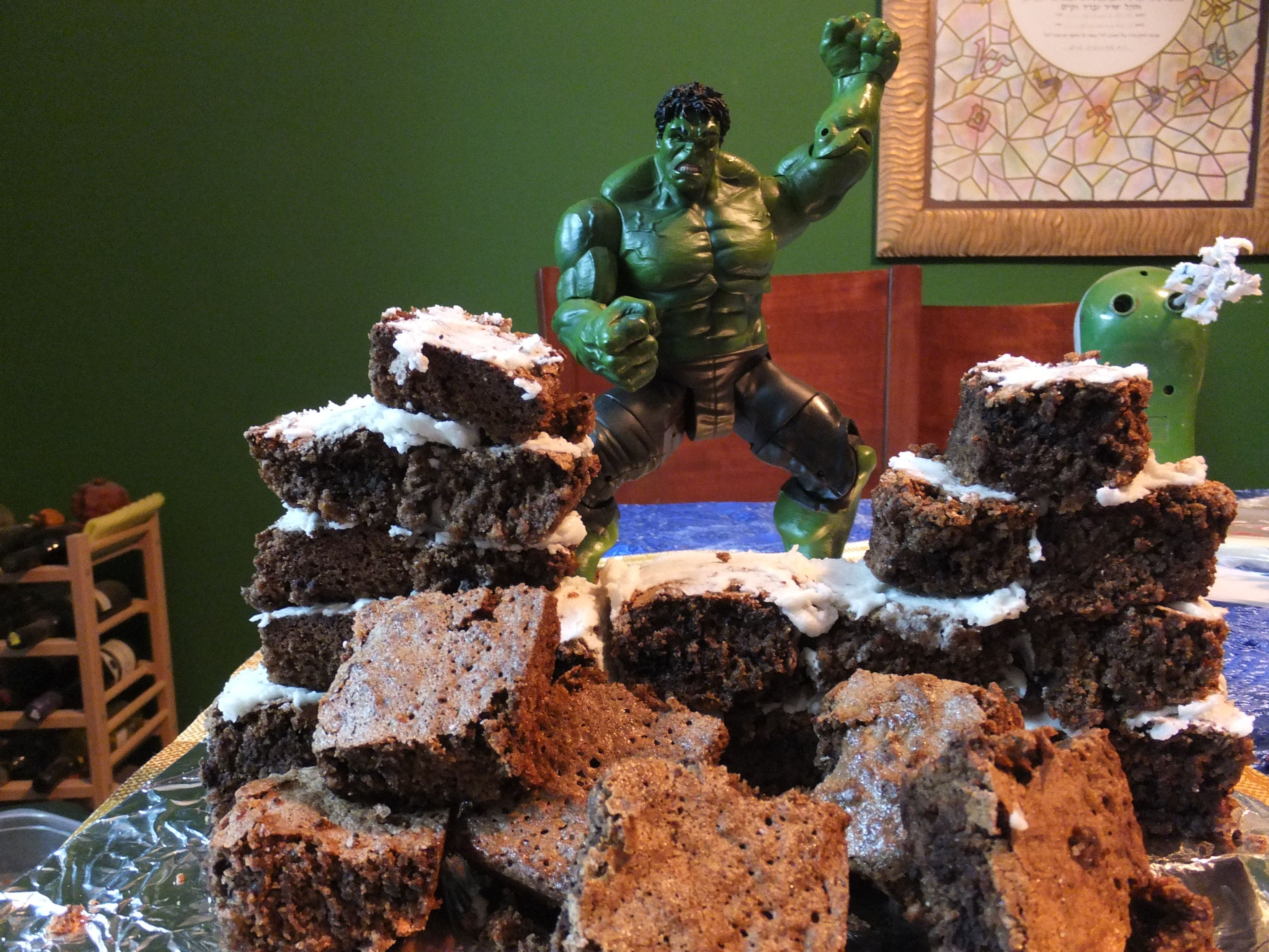The Incredible Hulk Cake Made with Brownies and White Mint Icing (and a The Hulk action figure)