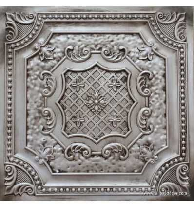 Pack of 10 2X2 Glue up Drop in Decorative Tiles Gorgeous antique vintage look ceiling Easy to install PVC panels great for DIY project ~ 40 sq.ft Tin Look Ceiling tile in Antique White Model#TD04