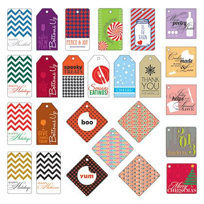 25 Holiday Gift Tags - Why spend on holiday gift tags when you can download these 25 original designs for free? Just print at home, trim, then tie to your homemade food gift for an adorable (and affordable) present for that someone special.