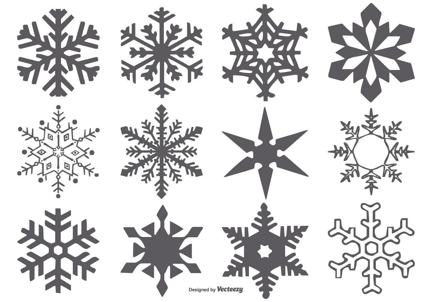 Here is a very useful set of vector snowflake shapes that