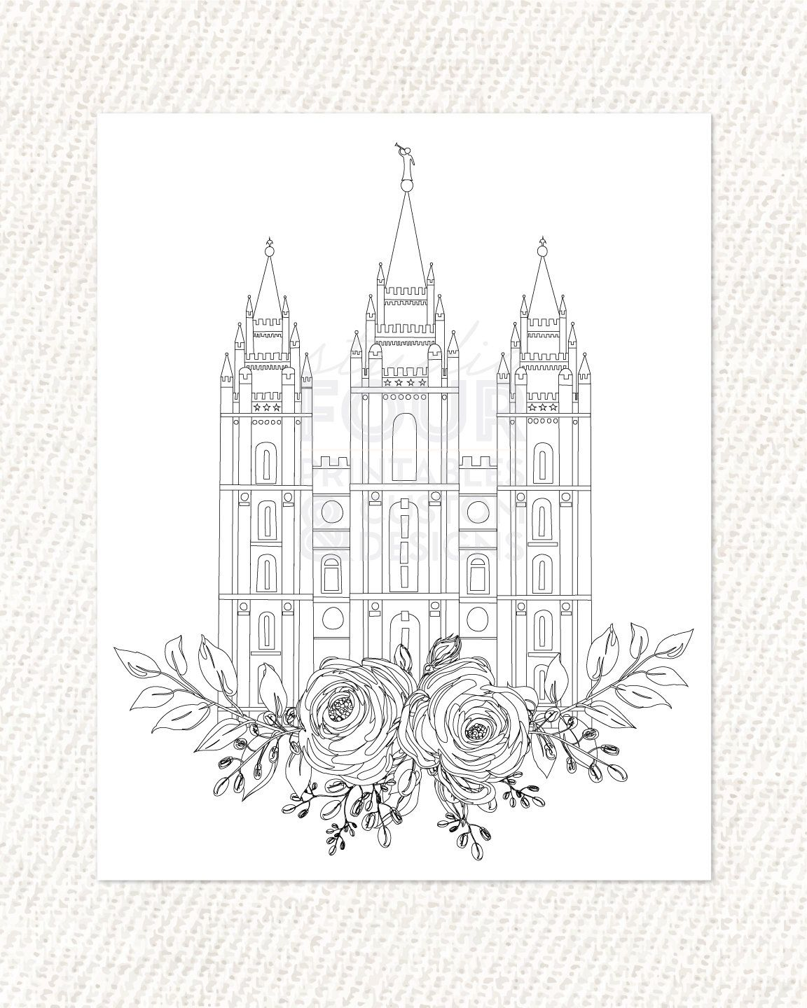 Printable Salt Lake City Utah Lds Temple Coloring Page Pdf