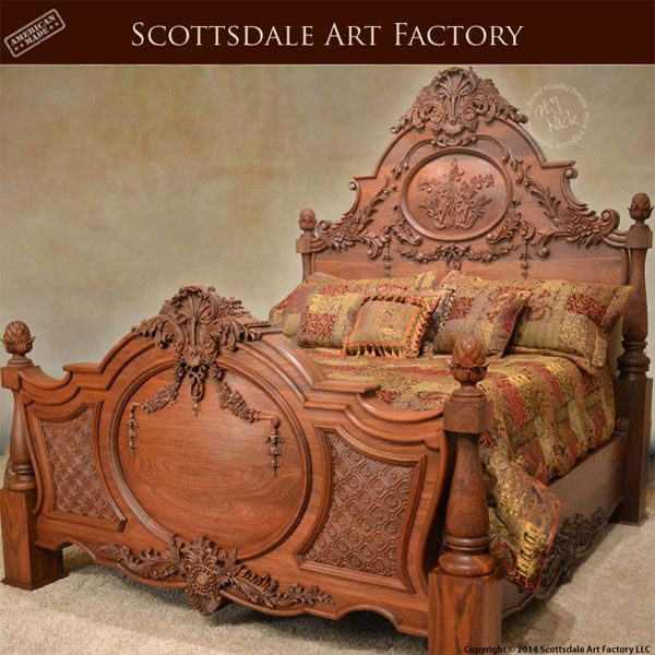Hand carved bed walnut custom wood bedroom furniture
