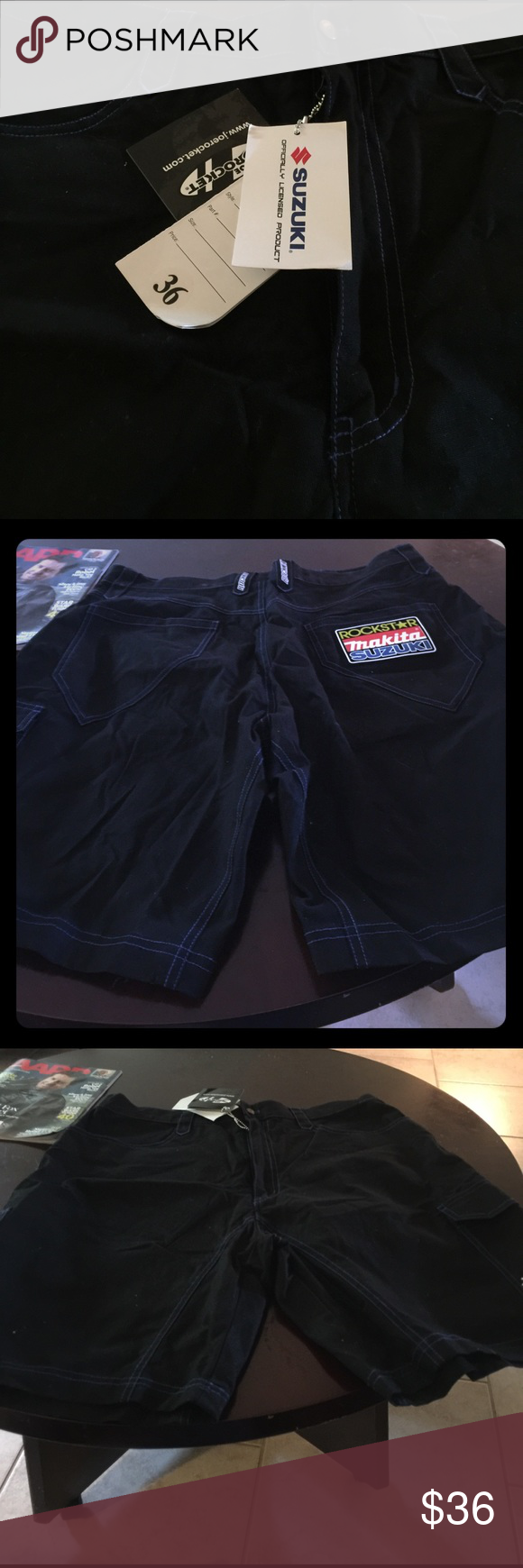 """Official Licensed Suzuki Riding Shorts size 36 Suzuki """" Joe Rocket"""" shorts.  Black size 36 Suzuski Shorts"""