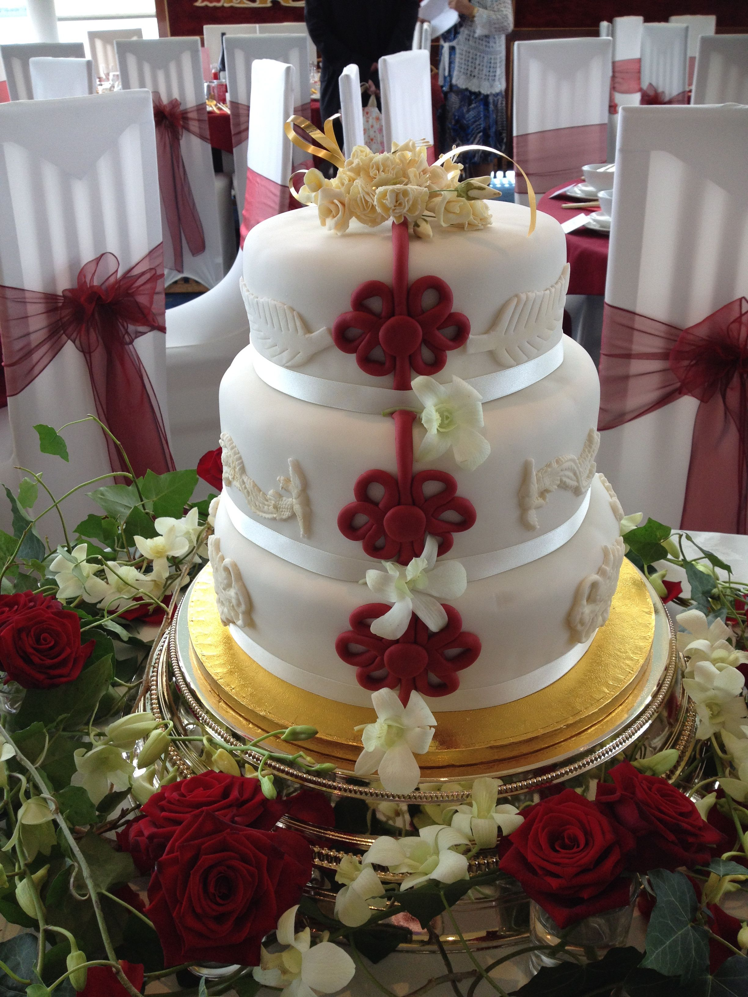 tier fruit cake with marzipan and fondant cake for a chinese