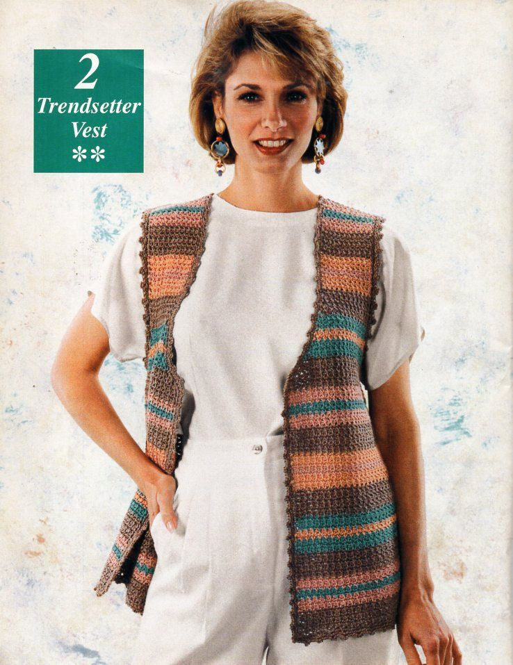 Womens Crochet Waistcoat Vest Crochet Pattern Ladies Crochet