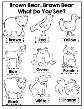 brown bear brown bear coloring activity kindergarten preschool colors preschool worksheets. Black Bedroom Furniture Sets. Home Design Ideas