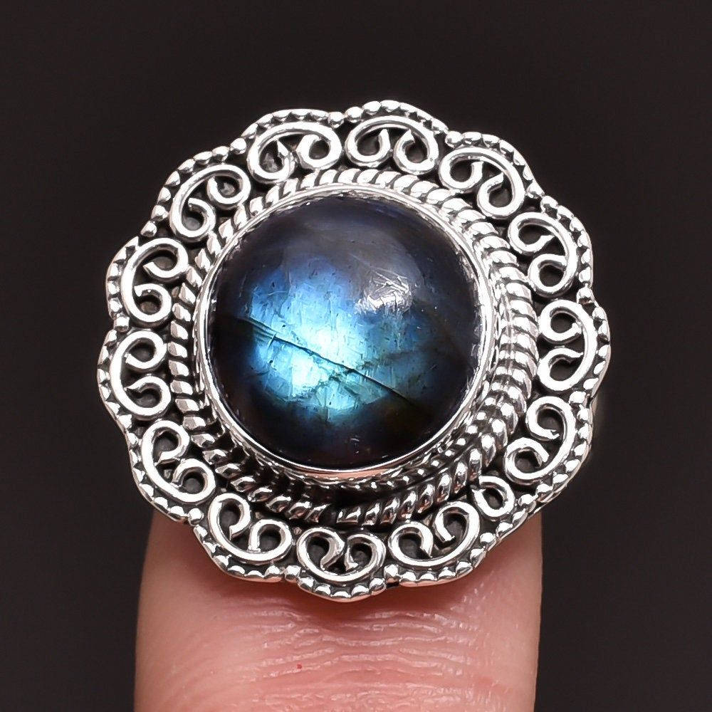 Natural Labradorite Vintage Gemstone Jewelry 925 Sterling Silver Women Earrings