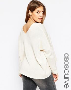 ASOS CURVE Sweater with V Back