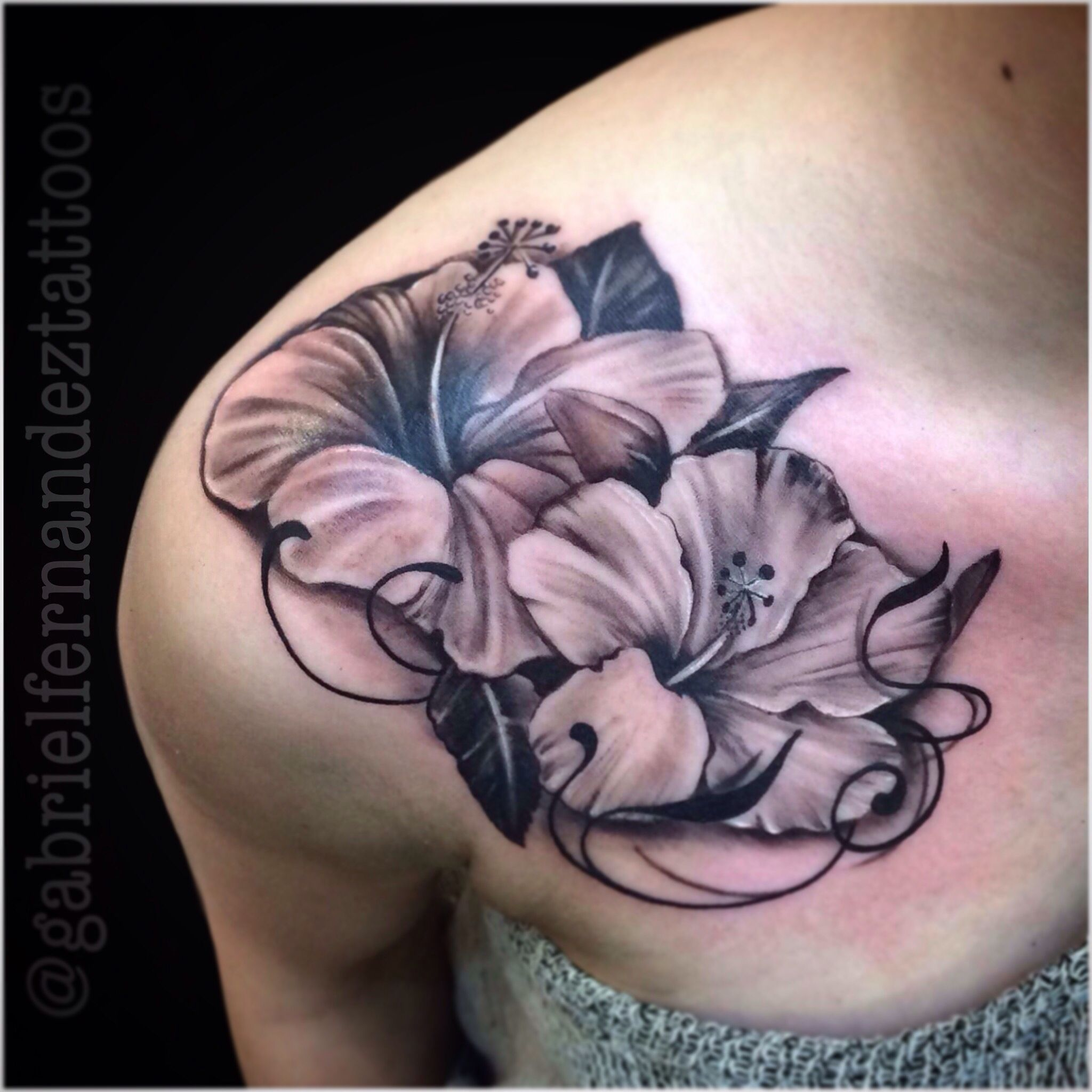 24 Hibiscus Flower Tattoos Designs Trends Ideas: First Hibiscus Flowers I Did. They Need It To Be Semi