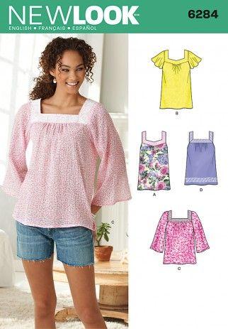 New Look Ladies Easy Sewing Pattern 6284 Summer Tops | Sewing ...