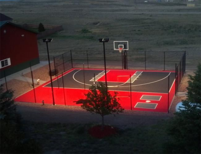 backyard basketball court and batting cage | landscaping ...