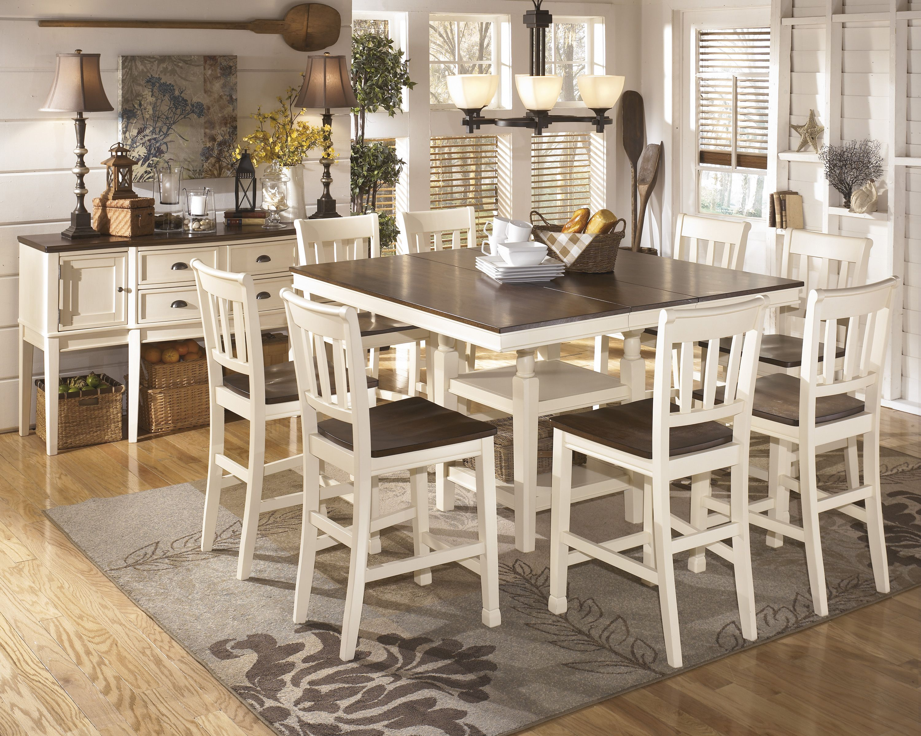 The Whitesburg 54 X 54 Counter Height Table W 8 Bar Stools