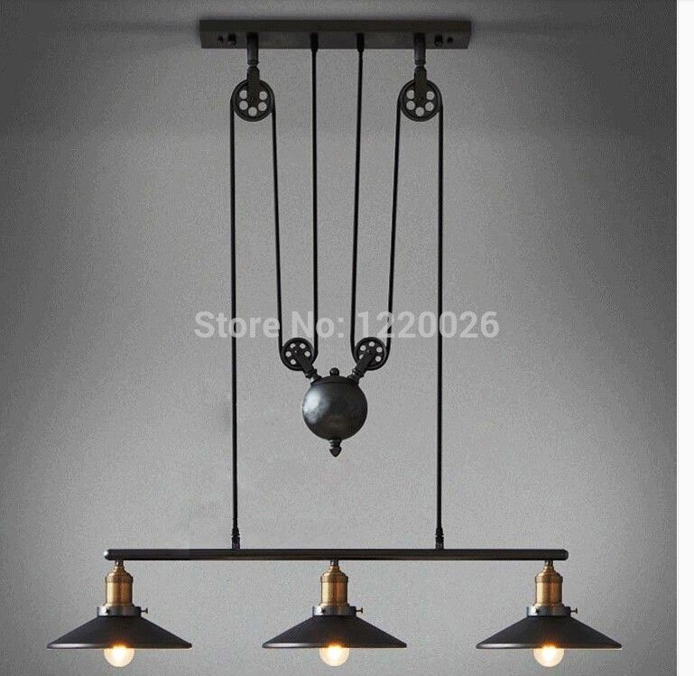 pas cher restauration antique ways style industriel american country lampes suspendues de poulie. Black Bedroom Furniture Sets. Home Design Ideas