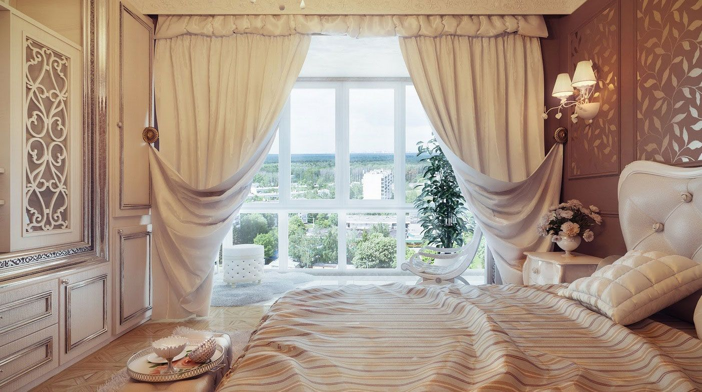 Beautiful curtains in the living room with lambrequins in a modern and classic style, photo