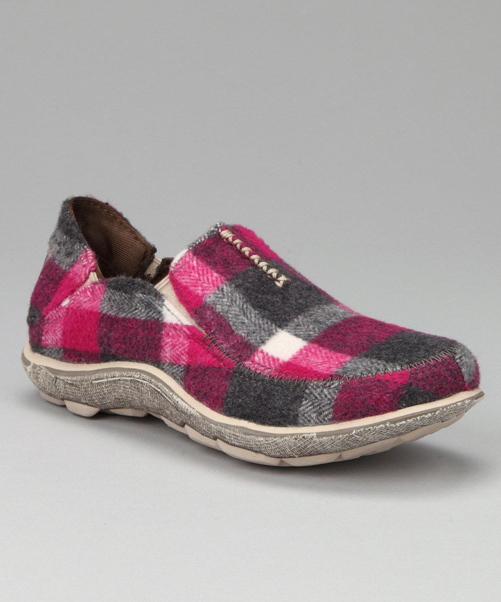 Felt Plaid Surf Slipper in Red-Cushe