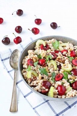 Farro, Cherry, and Walnut Salad. I think this is the ultimate summer salad recipe. Perfect healthy side dish.