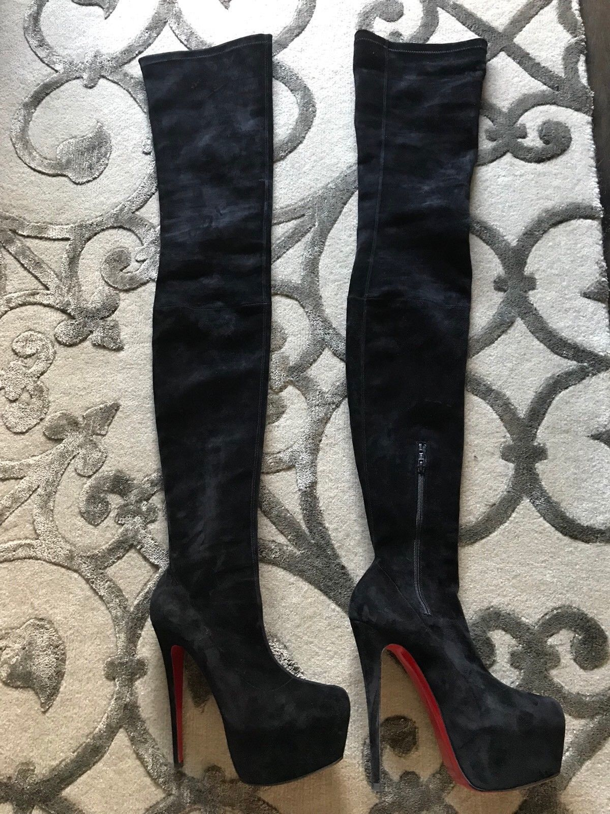 low priced 53762 31103 Christian Louboutin Black Suede Platform
