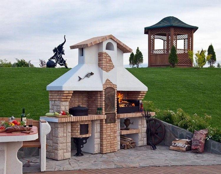 fabriquer un barbecue en pierre naturelle et brique rouge pour