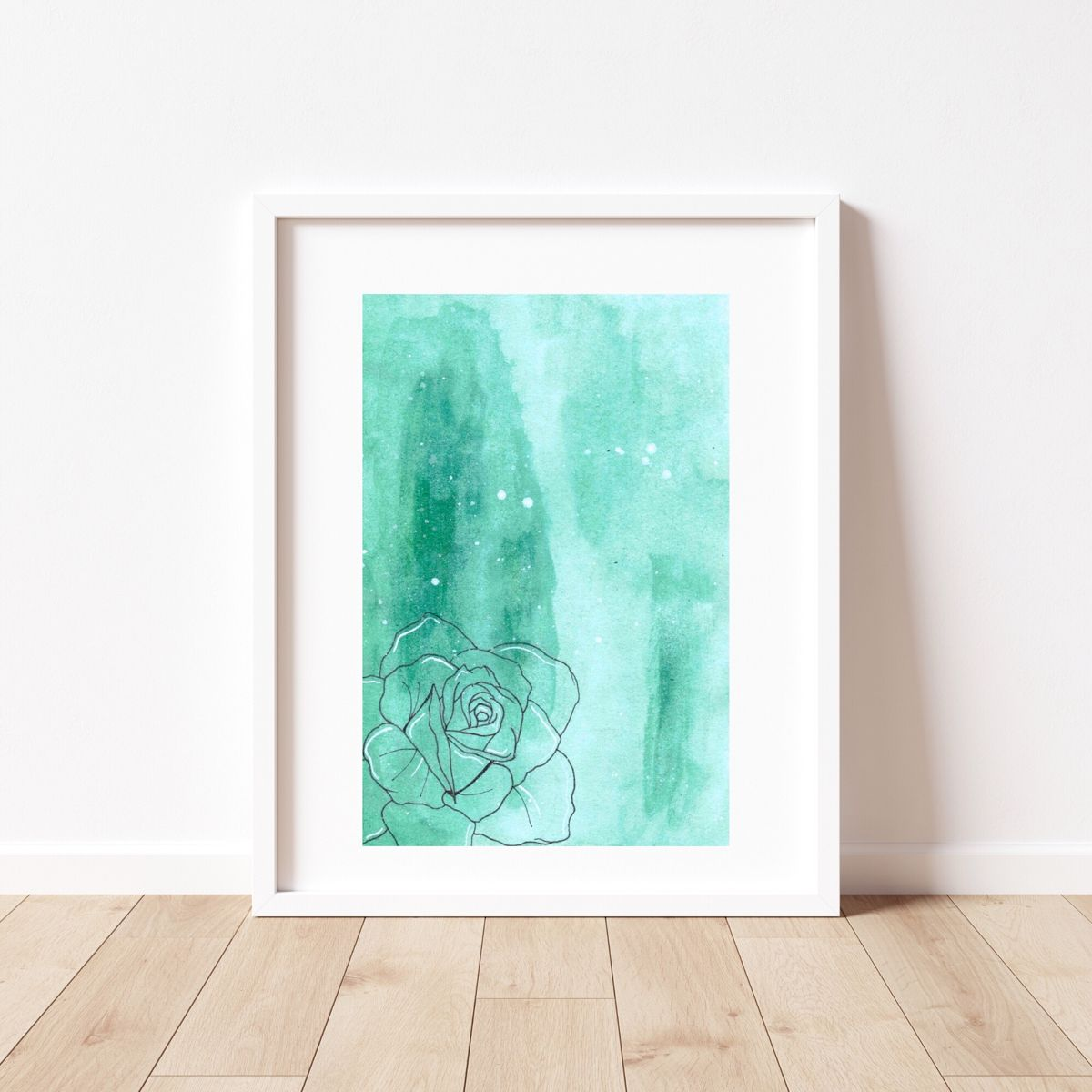 Artsy vibes plus a sweet rose🤍 #etsy #etsyartist #wallartdecor #artprintsforsale #roseart #watercolor #watercolorarts #floralart #floralpainting #kidsroomdecor #officedecorideas #homeoffice