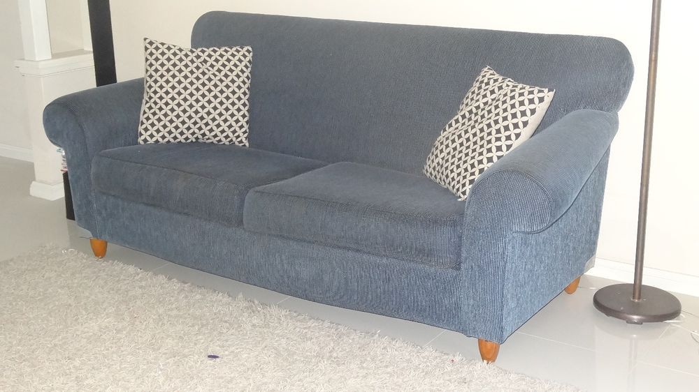 Freedom Lounges 3 seater and 2 seater in Stain resistant Blue Fabric