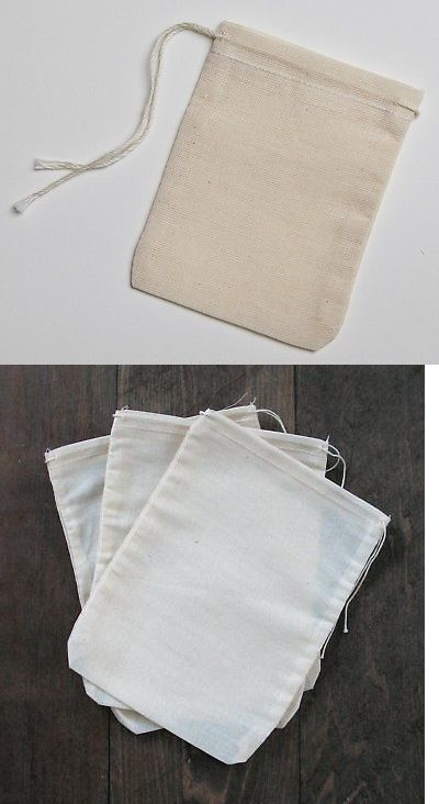 3x4 Cotton Muslin Drawstring Bags Made in the USA Mill Cloth 100