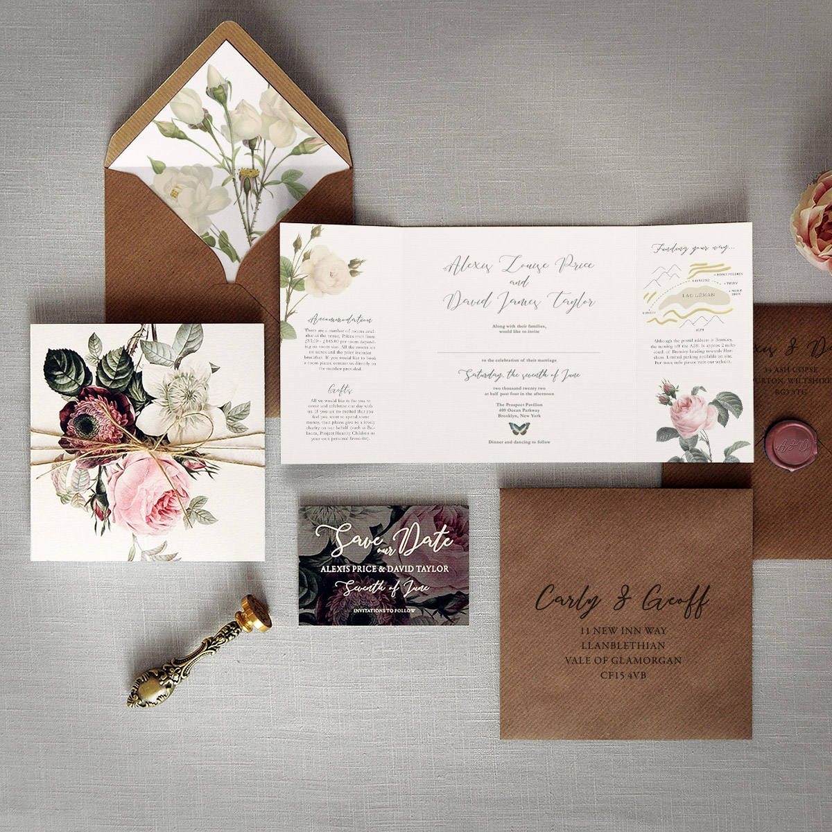 english garden luxury folding wedding invitations save the date
