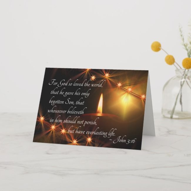 John 3:16 God so loved the world, Christmas Candle Holiday Card |  John 3:16 God so loved the world Christmas Candle Holiday Card - Create some light.